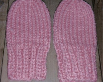 Hand Knit Baby Girl Mittens Size 3-6 Month / Pink / Ready To Ship