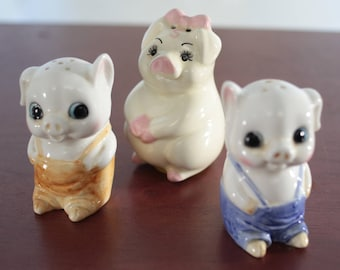 Vintage Kitsch Anamorphic Little Pigs Piggies Salt and Pepper Shakers Lot of Three (3)