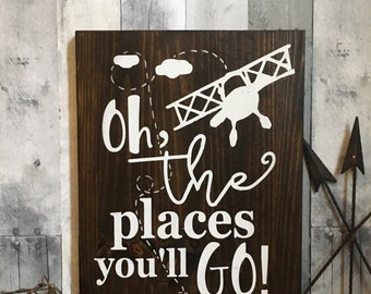 Oh The Places You'll Go Wood Sign Boys Nursery Wall Art Vintage Airplane Sign, oh the places you'll go wall art