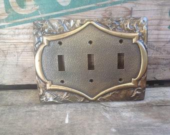 Vintage Brass Amerock Triple Switch Plate - Monterey Style