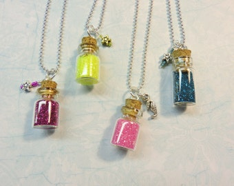 Tiny Bottle Pixie Dust Necklace With Charm, Pixie Dust Necklace, Tiny Bottle