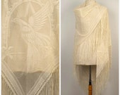 vintage ivory lace fringe shawl large Gatsby style scarf wrap wedding bridal throw antique white cream