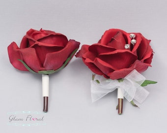 Red Rose Pin On Corsage and Boutonniere Set. Real Touch Flowers. Caroline Rose Collection