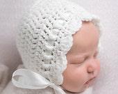 Crochet Baby Bonnet - Baby Girl Crochet Hat - Coming Home Outfit - Infant Girl  Hat- Newborn Girl Hat -Newborn Photo Prop - Crochet Baby Hat