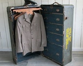 WWII Officer's Wardrobe Trunk - Steamer Trunk - War Trunk -  Wheary Trunk Co.