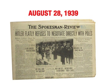 """August 28, 1939 Newspaper - Spokane, WA Spokesman-Review """"World War Two News"""""""