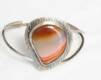 Orange Sardonyx Stone Cuff Bracelet in Sterling Silver Handcrafted