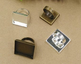 20 20mm/ 25mm Square Bezel Ring Adjustable Brass Antique Bronze/ Silver Plated - Z7988
