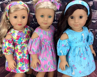 18 inch doll clothes AG doll clothes Pink dress  made to fit dolls like american girl doll clothes. Includes headband