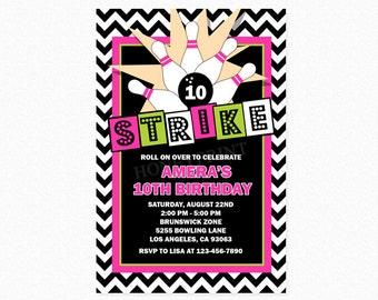 Bowling Birthday Party Invitation, Strike Invitation, Pink, Lime Green, Chevron, Personalized, Printable