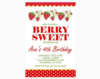 Strawberry Birthday Party Invitation, Red, Polka Dots, Girl, Printable and Printed