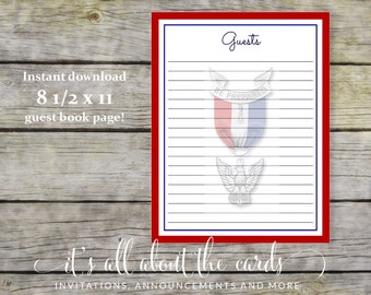 Guest Book Page  for Eagle Scout Court of Honor - Simple Honors - 8 1/2 x 11-Digital File