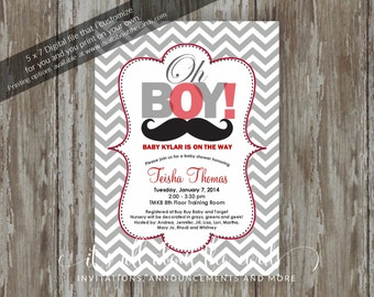 "Baby Shower invitations - Digital file ""Red Moustache Baby"" design"