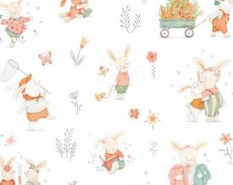 Studio E Bunny Tales White Bunny Scene fabric - 1 yard