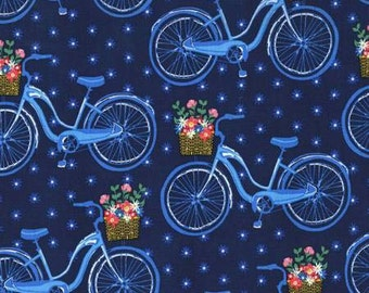 NEW Michael Miller Saturday Morning Navy Farmer's Market Bicycle fabric - 1 yard