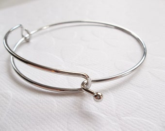 7 inch Silver Bangle Bracelet Blank - Latch Open & Close for Easy Fit - Stacking Bracelet - Add Charms - Thick Wire Slider Bracelet - Qty 1