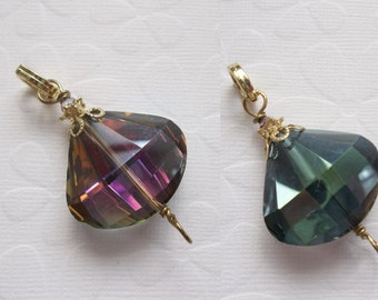 Two Sided Glass Pendant - Purple AB & Green AB - Large and Faceted Teardrop in Gold - Includes Bail - Doubles as a Connector - Qty 1