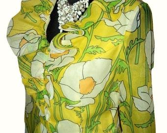 Vintage 1970s California Calliope Full Length Chiffon Floral Mod Dress