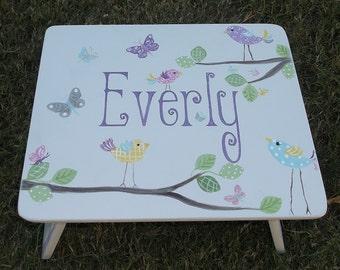 Step Stool, Childs, Kids, Personalized, Birds, Butterflys, Lavender, Bathroom Stool, Kids Furniture