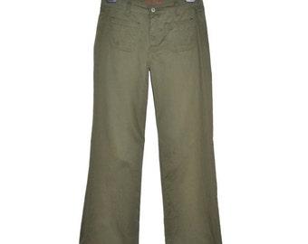 ON SALE Vintage Womens Khaki Green Flared Pants Size 28 Pockets Paul & Joe Bootcut