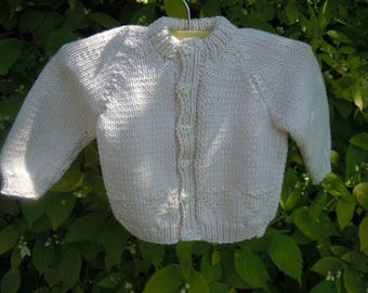 Handknitted Cotton Beaded Baby Cardigan