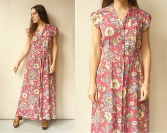 1940's Vintage Rayon Floral Novelty Printed Maxi House Dress Tea Dress Size Small