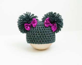 Newborn Girl Double Pom Gray Glitter Hat Photo Prop RTS Baby Bow Pink