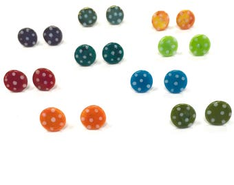 Beautiful Dotty Glass Studs, UK SRA Hypoallergenic