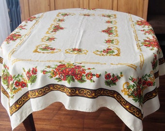 Vintage Tablecloth Traditional Roses and Scrolls Large 50 x 63