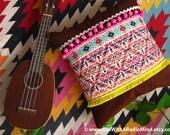Unique Bohemian Pillow Folk Pink Aztec Brown CORDUROY Yellow Pompom Cushion