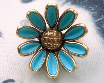 Trifari signed Alfred Phillipe Aqua Blue Poured Glass Daisy Flower Brooch and Pendant Circa 1950
