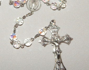 Beautiful Vintage Rosary, Crystal Beads, and Sterling Silver
