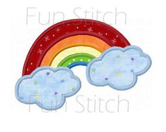 Rainbow applique machine embroidery design