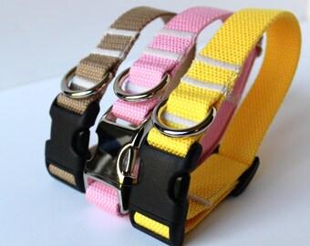 Cotton Dog Collar, Dog Collar, Khaki Dog Collar, Girly Dog Collar, Pet Accessory, Yellow Dog Collar