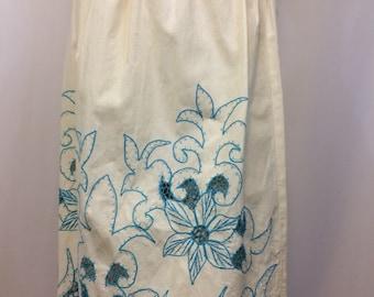 Vintage Cotton Embroidered Cut Work 1970's Skirt// Festival Island Look Skirt // Ladies Small Skirt