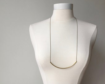 Minimalist necklace // long bar necklace // gold tube necklace // half moon necklace // long layering necklace // gold necklace // bar