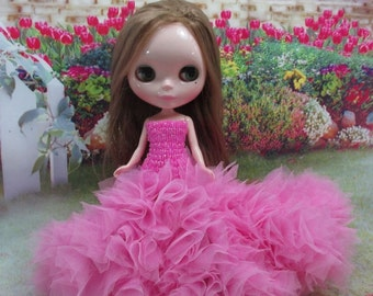 Blythe Outfit Clothing Cloth Fashion handcrafted beads tutu gown dress 956-14