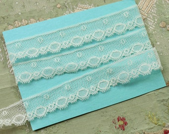 """1 yard Antique French lace picot cotton tiny ruffling 1920  flapper lingerie ivory cream france trim 11/16"""" wide"""