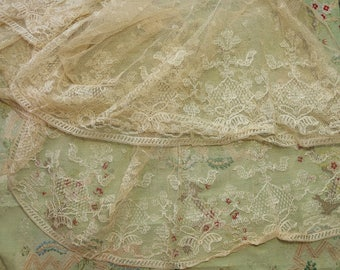 Lot of 2 Antique French cotton lace fabric pieces large 1920 art deco dress flapper dress making material muslin sheer
