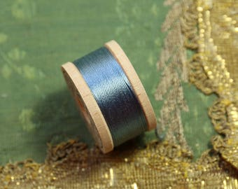 1 vintage pure silk buttonhole twist shade 6145 thread spool  slate blue shade 10 yards size D belding corticelli