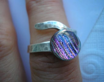Dichroic Ring Violet with Diagonal Stripes Sterling Silver Adjustable Contemporary Fused Glass Jewelry Iridescent Dichro Wrap Ring Purple