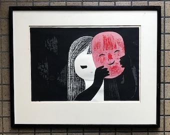 Vintage 60s Kawano Kaoru Woodblock Girl Red Mask Retro Mid Century Modern Japan Sixties Modernist Wall Hanging Art