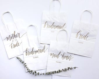 Custom gift bags + LARGE SIZE + Wedding gift bags + Bridal shower gift bag + Bachelorette Party bags + Welcome Bags / Handwritten