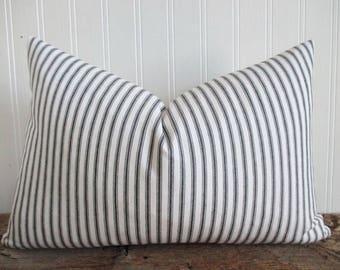Pillow Cover Lumbar Woven Black & White Ticking Stripes