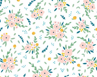 Light Coral Green Yellow Blue and White Floral Bouquet Cotton Spandex Jersey Knit, Dear Stella Knits Collection, 1 yard