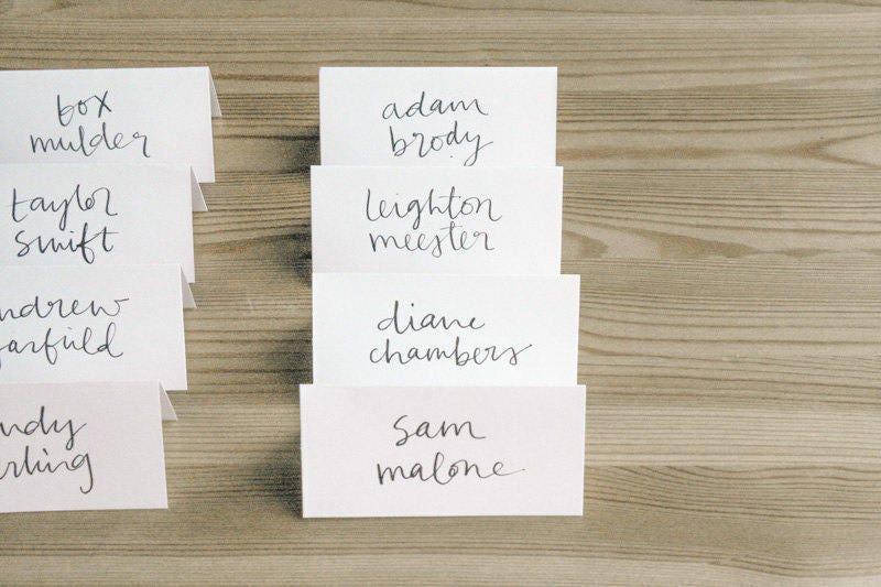 calligraphy place cards custom script style 11 for carolyn wedding escort