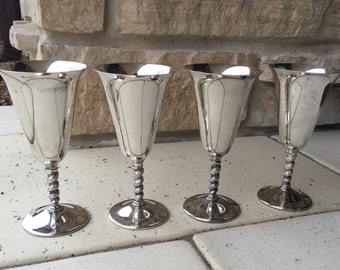 Silver-plated wine glass - SET of 4  - Silver Plated water goblet - Made in Italy - Very Good Condition - - Wedding Wine Glasses