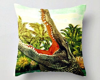 Alligator Pillow Cover, Alligator Cushion for Kids Room, Decorative Pillow for Bed Decorative Pillow for Couch Kids Room Cushion Cover 18x18