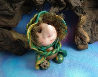 Mouse Whisperer Podkin Gnome 'Whitt' with furred mouse OOAK Sculpt by Sculpture Artist Ann Galvin Art Doll Elf