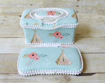 Set of 2, Large Nursery Wipe Case and Travel Baby Wipe Case, Coral Pink Trendy Watercolor Floral and Teepees, Large Case and Travel Case